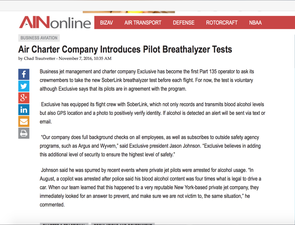 Air Charter Company Introduces Pilot Breathalyzer Tests